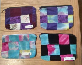 Handmade Tie Dye Patchwork< Make-Up Bag, Corduroy, Up Cycled Pouches, YOU CHOOSE