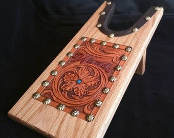 Custom, Heirloom  Hand tooled leather and Oak Boot Jack.