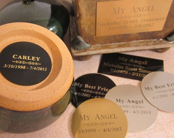 Reserved - Custom Engraved Nameplate for your Custom or Ready to Ship Urn - Purchase if you would like me to add a nameplate to your urn
