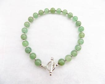 Semi Precious Stone Toggle Clasp Bracelet - Green Adventurine