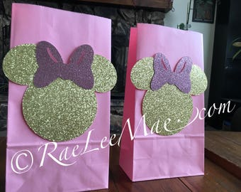 Sparkly Minnie Mouse Favor Bags/Goody Bags/Loot Bags/Minnie Mouse Party Bags/Gift Bags/Minnie Mouse light pink and gold treat bags