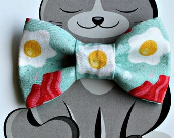 Bacon and Eggs Bow Tie for Cat or Dog, Pet Clothing, Slide on Collar Accessory, Pet Bowtie, Handmade in Canada, Food, Breakfast