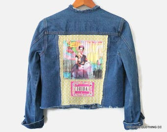 Upcycled Women's Clothes Frida Kahlo Denim Jean Jacket Funky Unique Boho Clothing / Day of the Dead / Festival Clothing