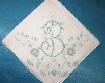 Embroidered Hankies Wedding, Initial B Handkerchief Monogrammed Vintage Embroidery Pink or Blue