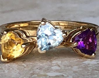 Lovely Trio of 10k Heart Rings Size 7.75 - 8.25 and 3.3 grams Wear Alone or Stackable