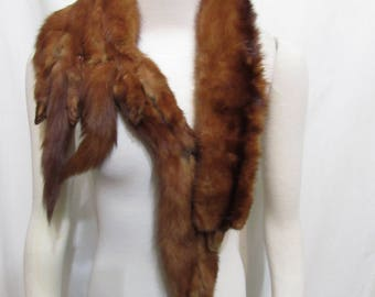Vintage 1940's Ermine Mink Fur Stole / Shawl Wrap  Mahogany Brown