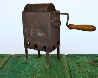 Italian metal chestnut roaster with wooden handle