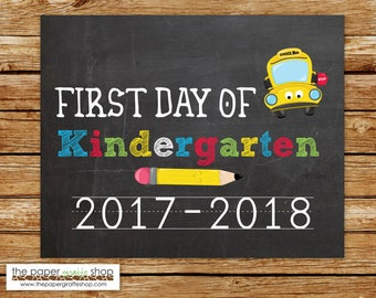 First Day of Kindergarten Sign | Chalkboard Sign | First Day of School Sign | Back to School Printables | First Day of Kindergarten