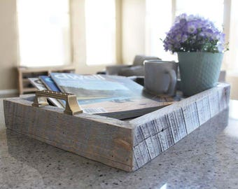 Reclaimed Wood Tray With Handles, Serving, Decorative Tray