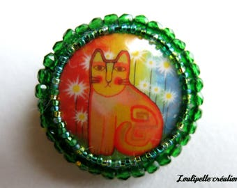 """Embroidered brooch """"Meow the cat"""""""