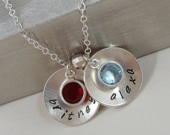 SALE - Personalized Mommy Necklace with Swarovski Birthstones - Hand Stamped Sterling Silver Jewelry