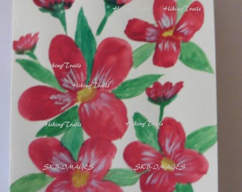 Hand Painted Note Card, Red Flowers, watercolor painting, handmade, original painting, , Fine Art Watercolor by Sharon at HikingTrails