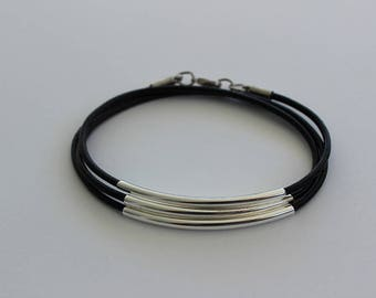 Silver and Leather Triple Wrap Bracelet