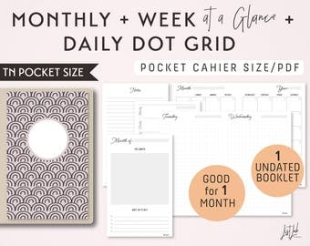 POCKET Size Monthly-Weekly-Daily Dot Grid TN Printable Booklet Insert - fits Traveler's Notebook Pocket Size