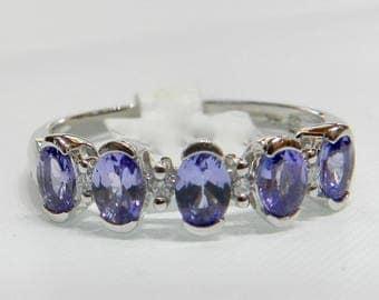 Tanzanite Diamond Ring 14K White Gold Tanzanite Engagement Wedding Ring Diamond Tanzanite Anniversary Ring