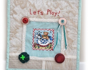 Baby, Toddler, wall decor, Nursery, Mini Fabric Art Quilts, Lets Play, Handmade, OOAK, Fabric Art Collage, Cottage Chic, Girls Boys decor