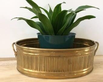 brass oval planter / Hollywood Regency