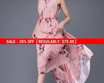 Print flower dress, chiffon dress, Romantic womens dresses, floaty dress, wedding dress, bridesmaid dress, sleeveless dress, maxi dress C875