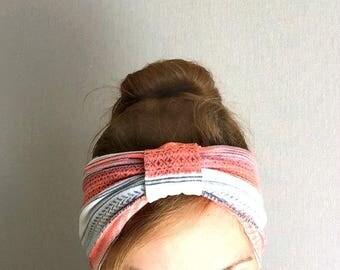 Tangerine Turban Head Wrap Twist Headband peach tropical hair wrap headwrap neon orange pastel beach summer colorful resort style