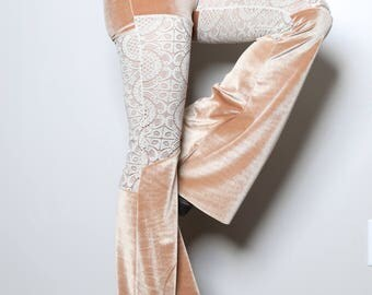 Fawn Velvet and Lace Bell Bottoms