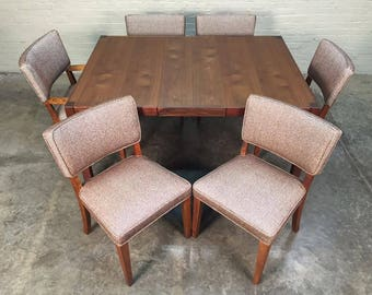 Beautiful Mid-Century Modern Dining Table With 6-Chairs, 2-Extensions & Table Pads - SHIPPING NOT INCLUDED