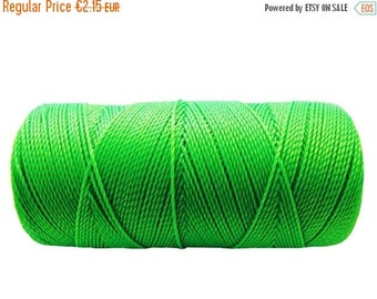 ON SALE Waxed Cord, Macrame Bracelet Cord, 15 meters/16 yards Friendship Bracelet String, Summer Jewelry - Neon Green