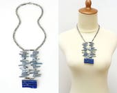Bold Lapis Lazuli Stone Slice Statement Necklace with Rock Crystal Raw Stone, Runway Fashion Jewelry