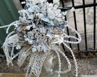 Custom Order for Cinderella Brooch Bouquet Posey Light Blue Silver