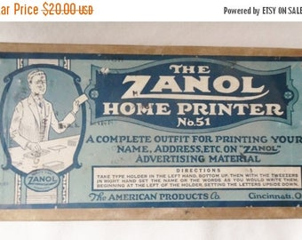ON SALE Vintage Zanol rubber stamp kit, The Zanol Home Printer No. 51- office printing, rubber letters, The American Products Co. Cincinnati