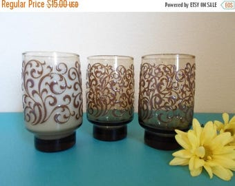 ON SALE Vintage Libby juice glasses  Glass   Bar Glass  Drink Glass  Amber Glass with raised scroll pattern  Made in America