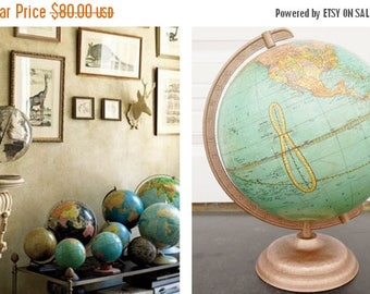 "ON SALE 1952, Vintage, Cram's, Universal Terrestrial, 10 1/2"", World Globe, Mid Century Modern, Gold, Blue, Map, Yellow, Collectible, Globe"