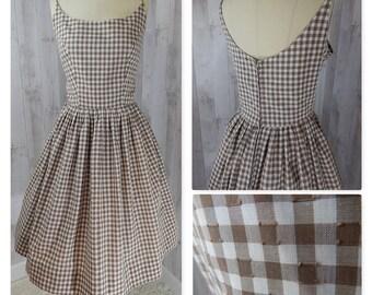 1950s True Vintage Aline DRESS~Brown/White Gingham Checks Cotton Summer Party Rockabilly Pinup 38 Bust 27 Waist