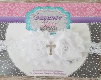 White Baptism Headband, Infant Headband, Newborn Headband, Christening Headband, White Headband, Cross Headband