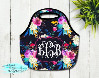 Monogrammed Lunch Tote - Watercolor Floral Roses - Personalized Tote - Lunch Box - Zippered Lunch Tote - Insulated Lunch Tote