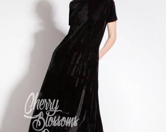 SALE ON 20 % OFF Black Maxi dress/ Velvet Dress / Long Maxi dress/ Long Black Dress / Party Dress / Spring Dress/ Plus Size Evening Dress /