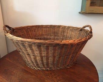 Vintage LARGE wicker laundry basket handwoven