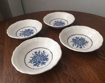 Vintage Ironstone set of 4 Bowls / Mayhill Federalist Sears Made in Japan / Cobalt and Cream / Antique China / Blue Floral