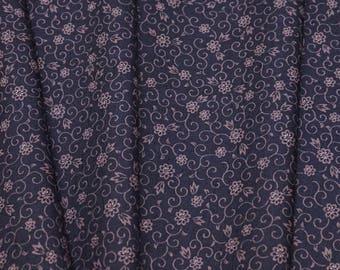Indigo Floral Vintage Japanese tsumugi mixed wool kimono fabric