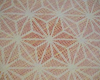 Vintage Japanese silk kimono fabric. Coral Asanoha tsumugi silk kimono fabric