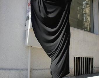 SALE Black Asymmetrical Tunic Dress / Kaftan / Off Shoulder Dress / Maxi Blouse A03014