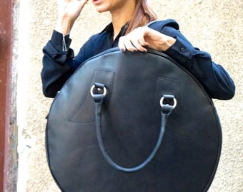 SALE NEW  Black Genuine Leather Bag / High Quality  Tote Circle Large Bag / zipper close up /  Unique Bag by AAKASHA A14318