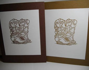 Cowgirl Boots (hand-stamped) 8-Card Box
