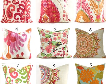 Pillow Covers ANY SIZE Decorative Pillow Cover Pink Pillow Orange Pillows Ikat Pillow You Choose