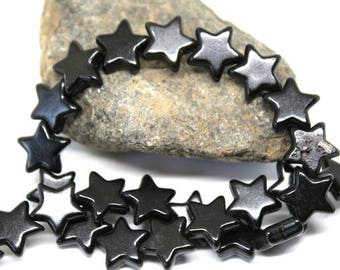 Black Turquoise, Magnesite Star Beads