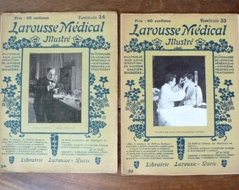 Medical Dictionary Set Illustrated Antique 1900s French Medicine Oddities Science Larousse Collectible Series Paris Paper Ephemera Vintage