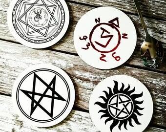Devils Trap, Sigil, SPN Family, Supernatural, Men Of Letters, Supernatural Decor, Set of 4, Wood Coasters