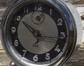 Antique French Alarm Clock JAZ 1940s Chrome Time Piece Working Order