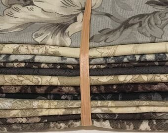 Japans fabric bundle in Browns, Grey and Lights 12 piece Fat Eighth Quarter Bundle