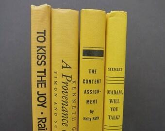 Bright Yellow Vintage Book Set/Book Decor/Book Stack/Decorative Books/Old Books/Home Decor/Wedding Book Decor/Photo Prop/Instant Library