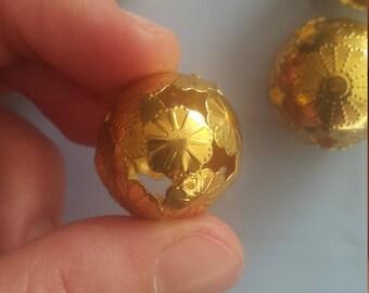5 gold tone filigree balls